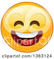 Clipart Of A Cartoon Yellow Smiley Face Emoticon Emoji Laughing Royalty Free Vector Illustration