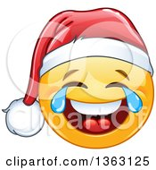 Clipart Of A Cartoon Yellow Smiley Face Emoticon Emoji Wearing A Santa And Laughing With Tears Of Joy Royalty Free Vector Illustration by yayayoyo