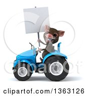 Clipart Of A 3d Mouse Holding A Blank Sign And Operating A Blue Tractor On A White Background Royalty Free Illustration