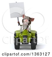 Clipart Of A 3d Mouse Holding A Blank Sign And Operating A Green Tractor On A White Background Royalty Free Illustration
