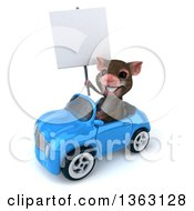Clipart Of A 3d Mouse Holding A Blank Sign And Driving A Blue Convertible Car On A White Background Royalty Free Illustration
