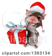 Clipart Of A 3d Christmas Mouse With Braces Holding Up A Gift On A White Background Royalty Free Illustration