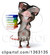 Clipart Of A 3d Bespectacled Mouse With Braces Holding And Pointing To A Stack Of Books On A White Background Royalty Free Illustration