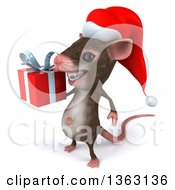 Clipart Of A 3d Christmas Mouse With Braces Holding A Gift On A White Background Royalty Free Illustration