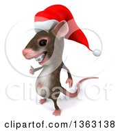 Clipart Of A 3d Christmas Mouse With Braces Giving A Thumb Up On A White Background Royalty Free Illustration