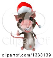 Clipart Of A 3d Christmas Mouse With Braces Holding Up A Thumb On A White Background Royalty Free Illustration by Julos
