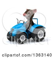 Clipart Of A 3d Mouse Operating A Blue Tractor On A White Background Royalty Free Illustration