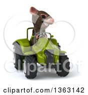 Clipart Of A 3d Mouse Operating A Green Tractor On A White Background Royalty Free Illustration