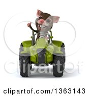 Clipart Of A 3d Mouse Giving A Thumb Up And Operating A Green Tractor On A White Background Royalty Free Illustration
