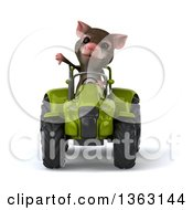 Clipart Of A 3d Mouse Giving A Thumb Down And Operating A Green Tractor On A White Background Royalty Free Illustration