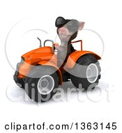 Clipart Of A 3d Mouse Wearing Sunglasses And Operating An Orange Tractor On A White Background Royalty Free Illustration