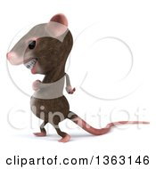 Clipart Of A 3d Mouse With Braces Walking On A White Background Royalty Free Illustration