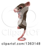 Clipart Of A 3d Mouse With Braces Meditating And Balancing On His Tail On A White Background Royalty Free Illustration