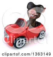 Clipart Of A 3d Mouse Wearing Sunglasses And Driving A Red Convertible Car On A White Background Royalty Free Illustration