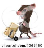 Clipart Of A 3d Mouse With Braces Moving Boxes On A Dolly On A White Background Royalty Free Illustration
