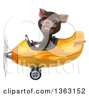 Clipart Of A 3d Mouse Aviator Pilot Flyin A Yellow Airplane On A White Background Royalty Free Illustration