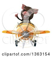 Clipart Of A 3d Mouse Aviator Pilot Giving A Thumb Up And Flying A Yellow Airplane On A White Background Royalty Free Illustration