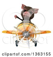 Clipart Of A 3d Mouse Aviator Pilot Giving A Thumb Down And Flying A Yellow Airplane On A White Background Royalty Free Illustration