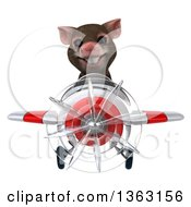 Clipart Of A 3d Mouse Aviator Pilot Flying A White And Red Airplane On A White Background Royalty Free Illustration