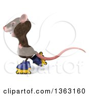 Clipart Of A 3d Mouse With Braces Roller Blading On A White Background Royalty Free Illustration