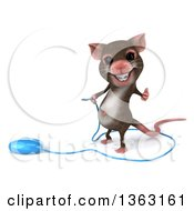 Clipart Of A 3d Mouse With Braces Giving A Thumb Up And Holding The Wire To A Computer Mouse On A White Background Royalty Free Illustration