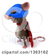 Clipart Of A 3d Super Hero Mouse With Braces On A White Background Royalty Free Illustration