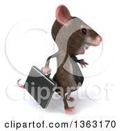 Clipart Of A 3d Business Mouse With Braces Walking On A White Background Royalty Free Illustration