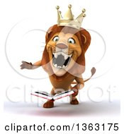 Clipart Of A 3d Male Lion King Roaring And Holding A Book On A White Background Royalty Free Illustration