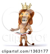 3d Male Lion King Presenting And Holding A Book On A White Background