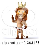 Clipart Of A 3d Male Lion King Holding Up A Finger And A Book On A White Background Royalty Free Illustration