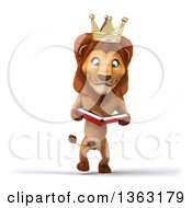 Clipart Of A 3d Male Lion King Walking And Reading A Book On A White Background Royalty Free Illustration