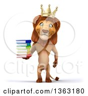 3d Male Lion King Holding A Stack Of Books On A White Background
