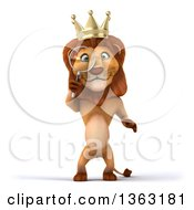 Clipart Of A 3d Male Lion King Searching With A Magnifying Glass On A White Background Royalty Free Illustration