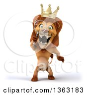 3d Male Lion King Searching With A Magnifying Glass On A White Background