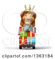 3d Male Lion King Moving Gifts On A Dolly On A White Background
