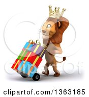Clipart Of A 3d Male Lion King Moving Gifts On A Dolly On A White Background Royalty Free Illustration