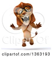 Clipart Of A 3d Bespectacled Male Lion Running On A White Background Royalty Free Illustration