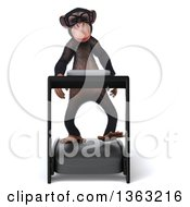 Clipart Of A 3d Chimpanzee Monkey Walking On A Treadmill On A White Background Royalty Free Illustration
