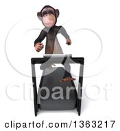 Clipart Of A 3d Chimpanzee Monkey Running On A Treadmill On A White Background Royalty Free Illustration