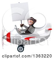 Clipart Of A 3d Chimpanzee Monkey Aviator Pilot Holding A Blank Sign And Flying A White And Red Airplane On A White Background Royalty Free Illustration