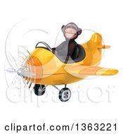 Clipart Of A 3d Chimpanzee Monkey Aviator Pilot Flying A Yellow Airplane On A White Background Royalty Free Illustration