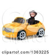 Clipart Of A 3d Chimpanzee Monkey Driving A Yellow Convertible Car On A White Background Royalty Free Illustration