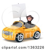 Clipart Of A 3d Chimpanzee Monkey Holding A Blank Sign And Driving A Yellow Convertible Car On A White Background Royalty Free Illustration