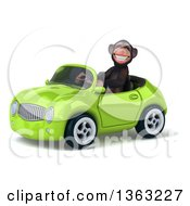 Clipart Of A 3d Chimpanzee Monkey Driving A Green Convertible Car On A White Background Royalty Free Illustration