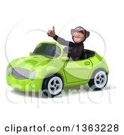 Clipart Of A 3d Chimpanzee Monkey Giving A Thumb Up And Driving A Green Convertible Car On A White Background Royalty Free Illustration