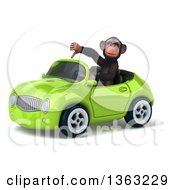 Clipart Of A 3d Chimpanzee Monkey Giving A Thumb Down And Driving A Green Convertible Car On A White Background Royalty Free Illustration