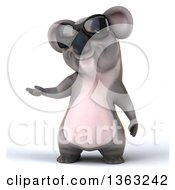 Clipart Of A 3d Koala Wearing Sunglasses And Presenting On A White Background Royalty Free Illustration