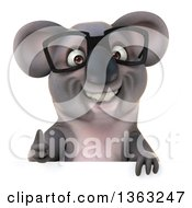 Clipart Of A 3d Bespectacled Koala Giving A Thumb Up Over A Sign On A White Background Royalty Free Illustration