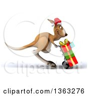 Clipart Of A 3d Christmas Kangaroo Pushing Gifts On A Dolly On A White Background Royalty Free Illustration