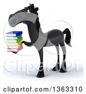 Clipart Of A 3d Black Horse Holding A Stack Of Books On A White Background Royalty Free Illustration